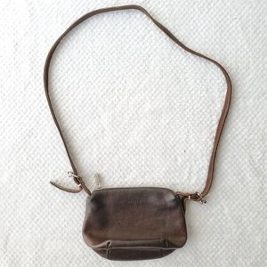 Roots Brown Genuine Leather Crossbody Bag